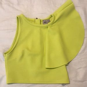 Bright green cropped top in size US 5